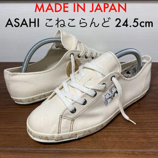 アサヒ(アサヒ)の日本製 ASAHI アサヒ キャンバス スニーカー こねこらんど 24.5(スニーカー)