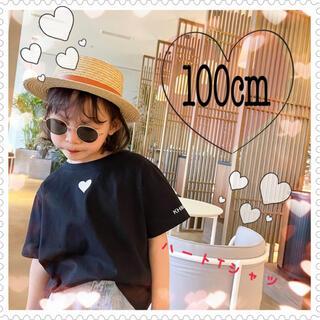 【100cm】送料込み♡ハートTシャツ ブラック 黒 可愛い女の子服 新品(Tシャツ/カットソー)