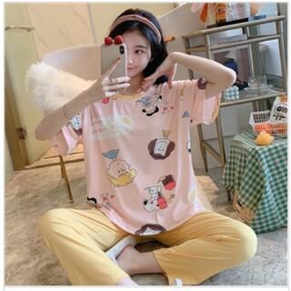 スヌーピー(SNOOPY)の春 スヌーピー パジャマ ピンク半袖Tシャツ&黄色長ズボン(パジャマ)