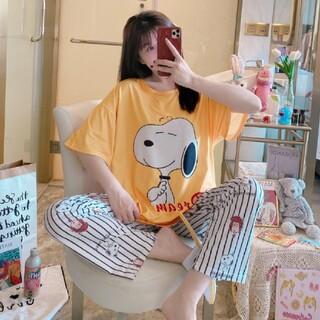 スヌーピー(SNOOPY)の春 スヌーピー オレンジ半袖Tシャツ&ボーダ―長ズボン パジャマ(パジャマ)