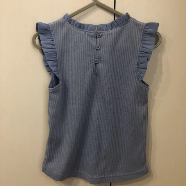 petit main(プティマイン)のpetit main  フリルつきノースリーブニット ブルー 100 キッズ/ベビー/マタニティのキッズ服女の子用(90cm~)(その他)の商品写真