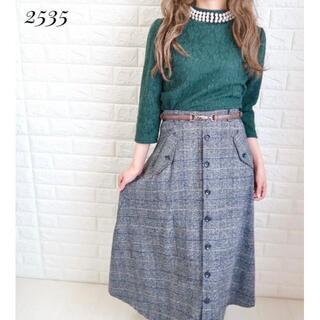 オゾック(OZOC)の着画★2535【トップス×スカート】パールグレンチェックロング(ロングスカート)