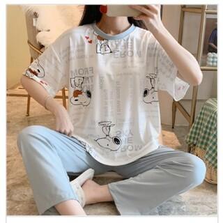 スヌーピー(SNOOPY)の春 スヌーピー 英文字 半袖Tシャツ & 水色長ズボン 二点セット パジャマ(パジャマ)