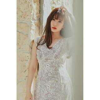 Lace Trimmed Floral Dress mauve pink M