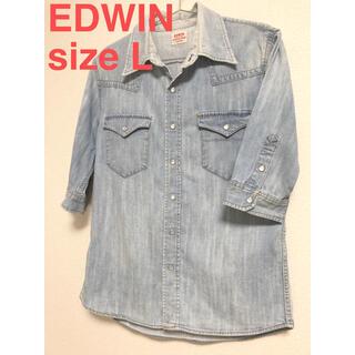 エドウィン(EDWIN)の美品 EDWIN デニムシャツ ダメージ ウォッシュ(シャツ)