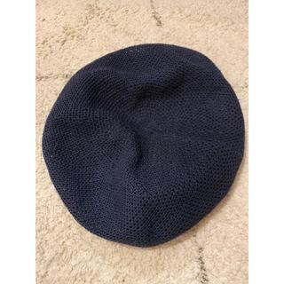 ビームス(BEAMS)のBEMAS 麻 ベレー帽 ネイビー(ハンチング/ベレー帽)