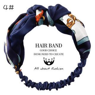 韓国風 スカーフ柄 ヘアバンド ヘアゴム カチューシャ #4ブルー