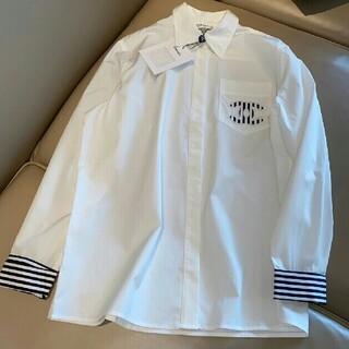 シャネル(CHANEL)のファッション限定刺繡ロゴストライプデザイン長袖シャツ(シャツ/ブラウス(長袖/七分))