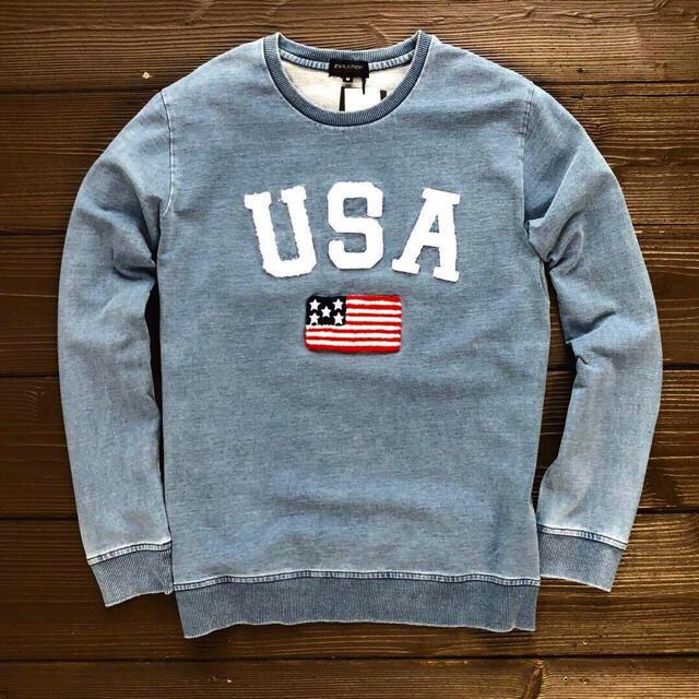 Ron Herman(ロンハーマン)の新品タグ付きヴィンテージ加工USAアメカジ国旗デニム風ロンT ユニセックス メンズのトップス(Tシャツ/カットソー(七分/長袖))の商品写真