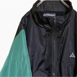 カッパ(Kappa)のカッパ ナイロンジャケット 配色 ブラック グリーン XL 古着.(ナイロンジャケット)