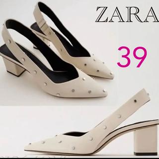 ZARA - ZARA スタッズ付きリアルレザーパンプス スリングバックヒールシューズ 39