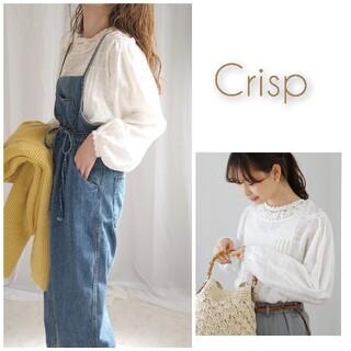 Crisp - 今期 完売 Crisp ドビーチェックレースブラウス ホワイト 人気 シースルー