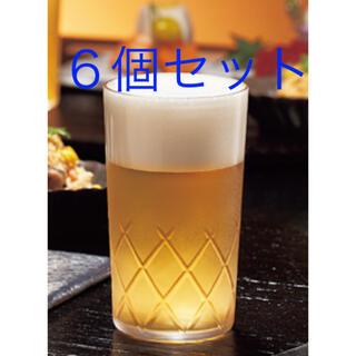 トウヨウササキガラス(東洋佐々木ガラス)のビールグラス 6個 ひと口 切子 矢来カット(グラス/カップ)