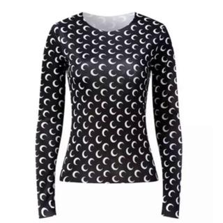 MOON TOP Black/White 三日月 黒(Tシャツ(長袖/七分))