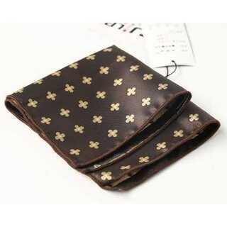 ブラウン ハンカチーフ ポケットチーフ ネクタイ タイピン 24cm×24cm(ハンカチ/ポケットチーフ)