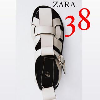 ZARA - 新品 ZARA ザラ レザーフラットサンダル フラットケージサンダル 38