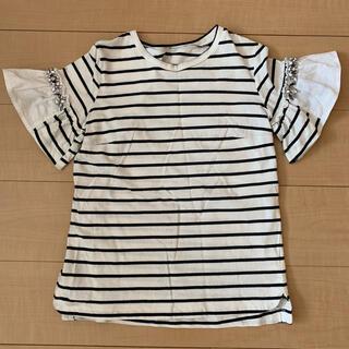 Chesty - chesty ボーダー ビジュー付きTシャツ
