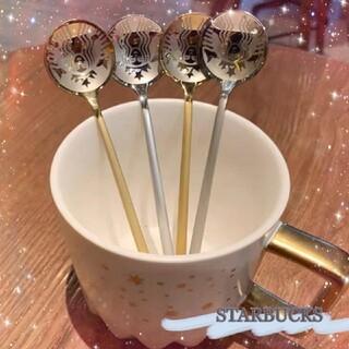 スターバックスコーヒー(Starbucks Coffee)のSTARBUCKS☕️スタバロゴスプーン (シルバー&ゴールド各1点)(カトラリー/箸)
