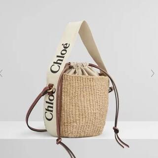 クロエ(Chloe)のChloe  ホワイトリボン クロエ woody ウッディ スモール バスケット(かごバッグ/ストローバッグ)