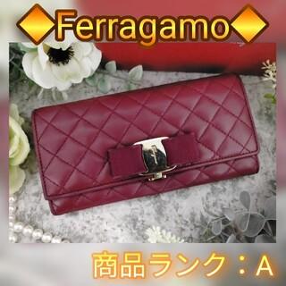 サルヴァトーレフェラガモ(Salvatore Ferragamo)のFerragamo フェラガモ ボルドー ヴァラ リボン 長財布 折り財布(財布)