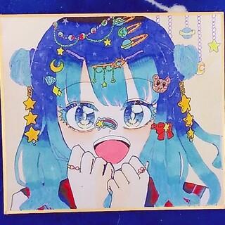 創作 イラスト 手描き 色紙(アート/写真)