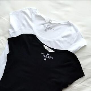 H&M - ☆2枚セット☆新品 H&M シンプルTシャツ フレンチスリーブ 黒 白