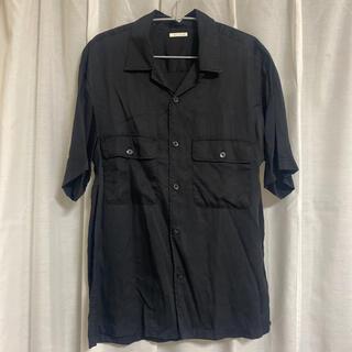 ジーユー(GU)のGU ジーユー オープンカラーシャツ 半袖シャツ ブラック(シャツ)