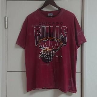 JUNK FOOD - NBA シカゴ・ブルズ Tシャツ 古着 ブリーチ加工 ビッグプリント バスケ