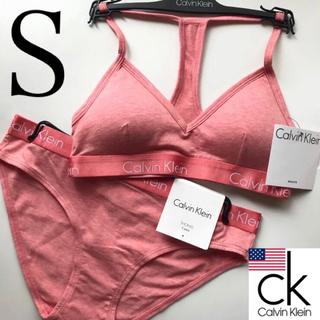 カルバンクライン(Calvin Klein)のレア 新品 Calvin Klein USA ブラショーツ S コーラルオレンジ(ブラ&ショーツセット)