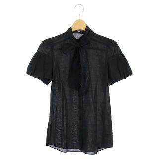 バーバリーブルーレーベル(BURBERRY BLUE LABEL)のバーバリーブルーレーベル 半袖 ボウタイシャツ スタンドカラー ロゴ刺繍 36 (シャツ/ブラウス(半袖/袖なし))