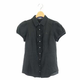 バーバリーブルーレーベル(BURBERRY BLUE LABEL)のバーバリーブルーレーベル 半袖 シャツ パフスリーブ フリル 36 黒(シャツ/ブラウス(半袖/袖なし))