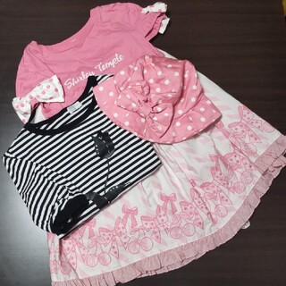 シャーリーテンプル(Shirley Temple)のShirley Temple チェリーリボン刺繍スカート 160(スカート)