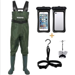 ウェーダー 一式セット 釣り 渓流 雪かき 農作業 漁師 胴付長靴 M,L,XL(ウエア)