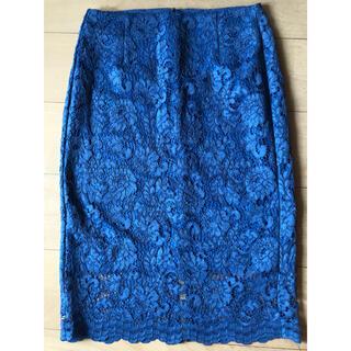ジーユー(GU)の試着のみ GUレースタイトスカート サイズL ブルー(ひざ丈スカート)