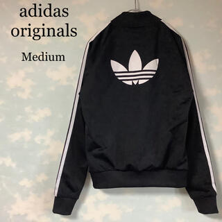 adidas - adidas originals トラックトップ 黒 バックプリント 襟なし