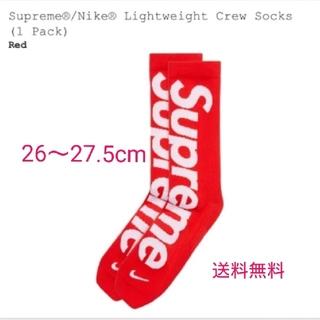 Supreme - Supreme Nikeコラボソックス 26-27.5cm 赤 送料無料