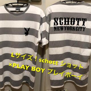 ショット(schott)のLサイズ!schott ショット×PLAY BOY プレイボーイ古着半袖ボーダー(Tシャツ/カットソー(半袖/袖なし))