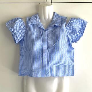 スライ(SLY)の美品 オフショルチェックシャツ パステルブルー SLY スライ 肩出し ショート(シャツ/ブラウス(半袖/袖なし))