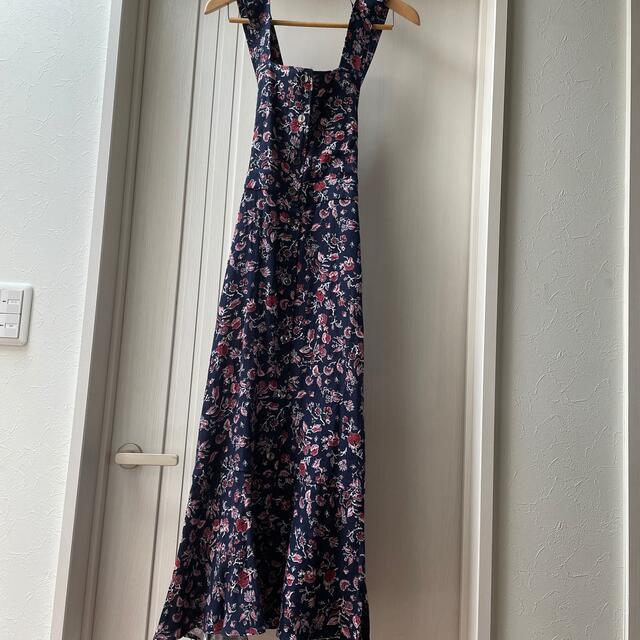 ZARA(ザラ)のZARA 今季ザラ のプリントジャンパースカート  M新品未使用 レディースのワンピース(ロングワンピース/マキシワンピース)の商品写真