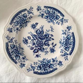 ニッコーブルーカーネーション食器昭和レトロ花リムプレート小皿取り皿サルグミンヌ