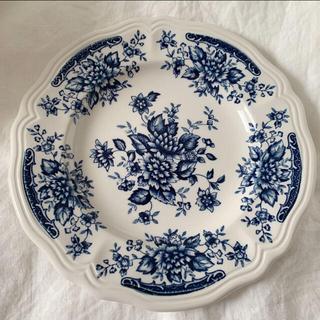 ニッコーブルーカーネーション花リムプレート、皿、お皿、サルグミンヌ、アンティーク