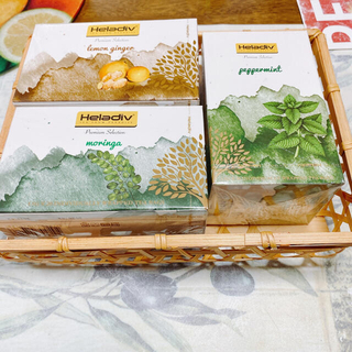 おまけ付き!ハーブティーセット H ※香りの小びん&竹かご&風呂敷付き(茶)