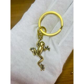 真鍮製 福カエル キーホルダー チェーン 開運 縁起物 二重リング付(キーホルダー)