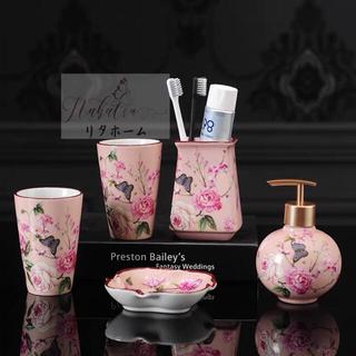 花柄サニタリー5点セット ヨーロッパ風 ディスペンサー 歯ブラシスタンド洗面所(日用品/生活雑貨)