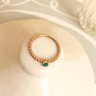 10k  ゴールド × エメラルド  リング✨(リング(指輪))