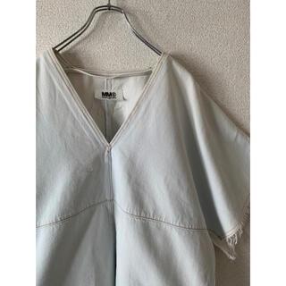 マルタンマルジェラ(Maison Martin Margiela)の【MM6】マルジェラ デニムカットソー ホワイト 白 古着(シャツ/ブラウス(半袖/袖なし))