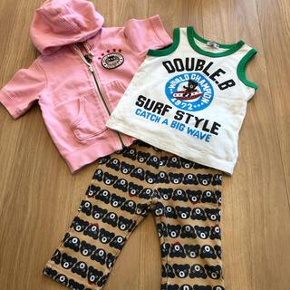 DOUBLE.B - ミキハウス ダブルビー  パーカー&シャツ&パンツ3点 サイズ90