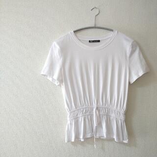 ZARA - 美品 ザラ ZARA 真っ白 Tシャツ ウエスト絞り リボン