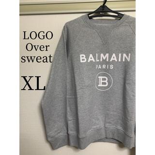 バルマン(BALMAIN)の【新品】BALMAN(バルマン)  ロゴオーバースウェット  グレー XL(スウェット)