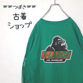 エクストララージ(XLARGE)の【アースカラー】X-LARGE デカロゴ 古着 スリーブロゴ ゴリラ sk8 緑(Tシャツ/カットソー(七分/長袖))